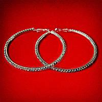 [75 мм] Серьги-кольца итальянский замок с разноцветными стразами большого размера светлый металл