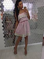 Платье женское красивое из хлопка на бретелях с кружевом