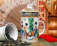 Кружка - заварник с ситечком Китайские орнаменты,подарок на день учителя