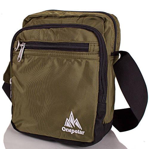 Спортивная наплечная сумка для мужчин ONEPOLAR (ВАНПОЛАР) W5053-green зеленая