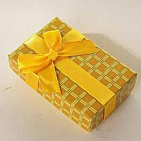 [8/5/3 см] Подарочная коробочка для для сережек и колец прямоугольная Клетка средняя 24 шт., фото 1