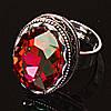 Кольцо безразмерное овал Чешское Стекло красный