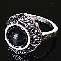 Кольцо Агат Цветок черная страза