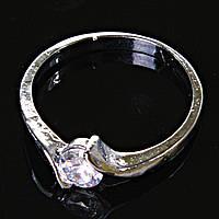Кольцо Помолвочное завиток с камнем