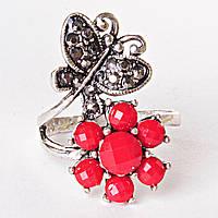 Кольцо завиток бабочка цветок красный страза