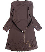 Детское нарядное платье цвет шоколад