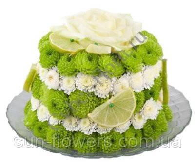 Тортик из живых цветов