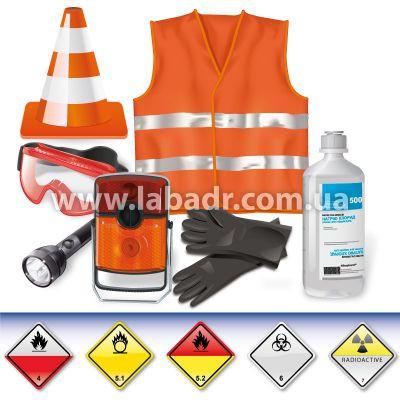 ADR-комплект. для опасных грузов, которым присвоены знаки опасности № 4.2, 5.1, 5.2, 6.2 или 7