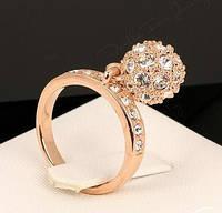 Кольцо Сюрприз, позолота, покрытие розовое золото 18К, р. 18