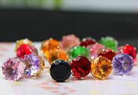 Серьги Блеск, покр. 18К золото, 8 мм, разные цвета