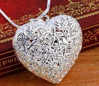 Цепочка и кулон Цветущее Сердце, покрытие 925 серебро, кулон и цепочка