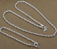 Набор Бижутерии Колосок, Витой, покрытие 925 серебро, 4 мм, цепочка + браслет