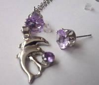 Набор бижутерии Дельфин, покрытие белое 18К золото, 3 части: серьги и кулон с цепочкой