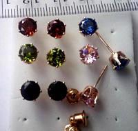 Серьги Блеск, покр. розовое золото, 5,5 мм, цвета