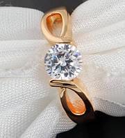 Кольцо, позолота, покрытие 18К золото, циркон, р.18