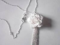 Цепочка и кулон Роза 3D Цветок, покрытие 925 серебро