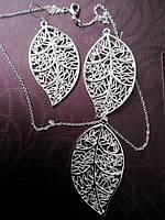 Набор бижутерии Ажурный листок, покрытие 925 серебро, серьги + кулон с цепочкой