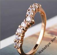 Кольцо, позолота, покрытие розовое 585 золото, р. 17, 18