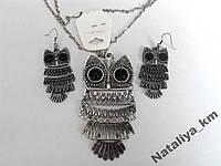 Набор бижутерии Сова: серьги, кулон и цепочка, цвет серебро