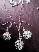Набор бижутерии серебряный Шар, покрытие 925 серебро, 3 части: серьги и кулон с цепочкой
