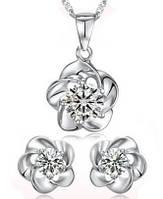 Набор бижутерии Цветок, позолота, покрытие белое 18К золото, 3 части: серьги и кулон с цепочкой