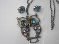 Набор бижутерии Голубоглазая Сова: серьги, кулон и цепочка