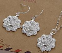 Набор бижутерии Цветы 4, покрытие 925 серебро, 3 части: серьги и кулон с цепочкой