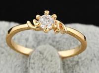Кольцо позолота, покрытие 18К золото, циркон, р. 18