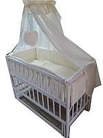 Кроватка маятник Малыш белая +матрас кокос+постельное 8 эл.