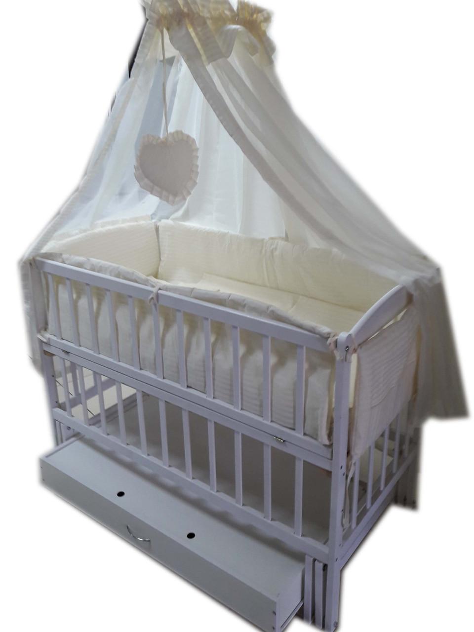 """Кроватка маятник """"Малыш Люкс"""" с ящиком белая + матрас кокос + постельный набор 8 эл."""