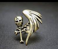Кольцо Череп и крылья, цвет бронза