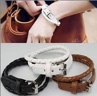 Двойной плетеный браслет, кожа, в наличии черный и белый цвет