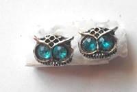 Серьги голубоглазая сова, цвет серебро