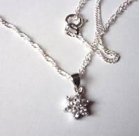 Цепочка и кулон Звезда, покр. белое золото серебро