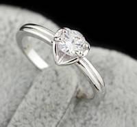 Кольцо Сердце, позолота, покрытие 18К белое золото, р. 17, 18 19