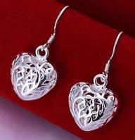 Серьги Серебряное Сердце , покрытие 925 серебро