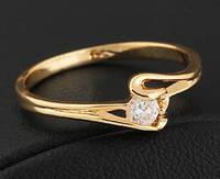 Кольцо, позолота, покрытие 18К золото, циркон, р. 17, 18, 19
