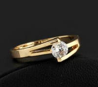 Кольцо, позолота, покрытие 18К, 750 золото, циркон, р.17, 18, 19