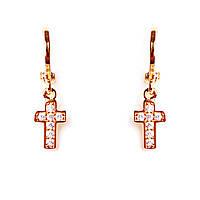 Серьги-конго Gold крестик[24/5]