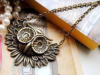 Цепочка и кулон Сова, цвет бронза