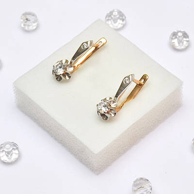 e170853f75fa Классические золотые серьги с цирконием в Ювелирном магазине - Магия ...