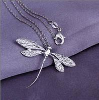 Цепочка и кулон Стрекоза, покрытие 925 серебро