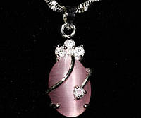Кулон Опал c цепочкой -  2мм, покр 925 серебро