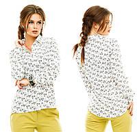 Рубашка женская. Белая основа серые мелкие цветы