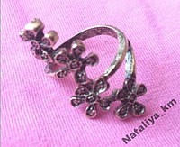 Кольцо Цветок, винтаж, цвет бронза, р.17