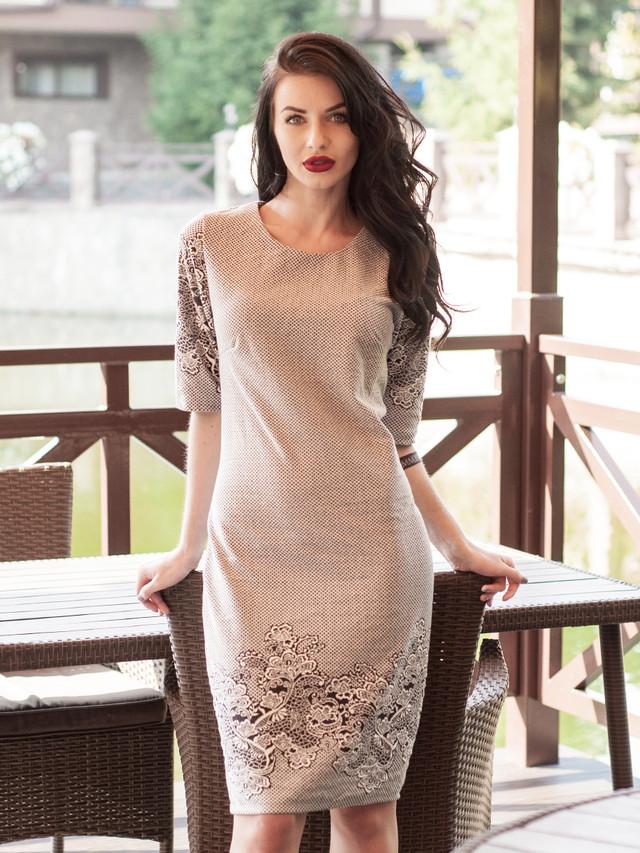 Офисное женское платье с коротким рукавом