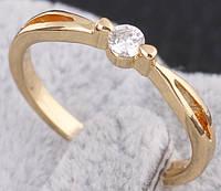 Кольцо позолота, покрытие 18К золото, циркон, р.18