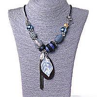 Ожерелье Вечер в Джунглях, декор - бусины, металл и дерево, застежка Тогл, фото 1