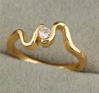 Кольцо позолота, покрытие 18К золото, циркон, р.17