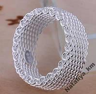 Кольцо плетенный Ажур, покрытие 925 серебро, р.17, 18